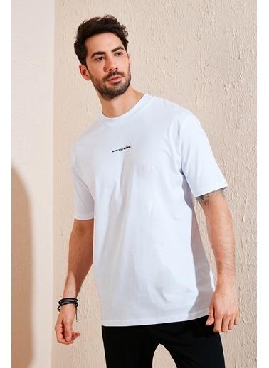 Buratti Buratti Oversize Yazı Baskılı Bisiklet Yaka % 100 Pamuk T Shirt Erkek T Shirt 5721020 Beyaz